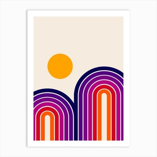 Retro Sunset Art Print
