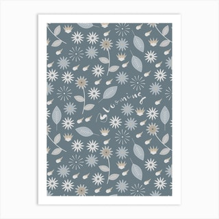 Blooming (Aqua) Art Print