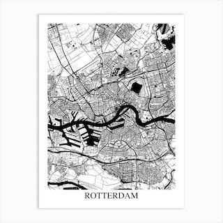 Rotterdam White Black Art Print