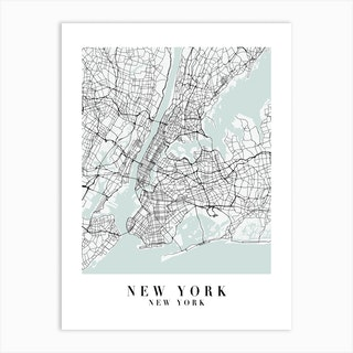 New York New York Street Map Minimal Color Art Print