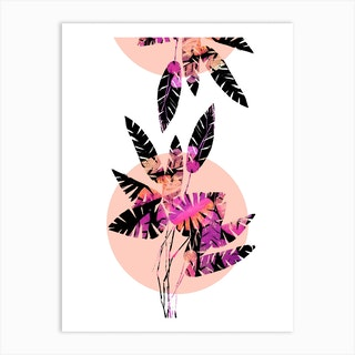 Pink Plants On Coral Art Print