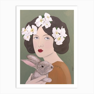 Woman With White Flowers And Rabbit Art Print