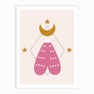 Pink Butterfly And Golden Moon Art Print