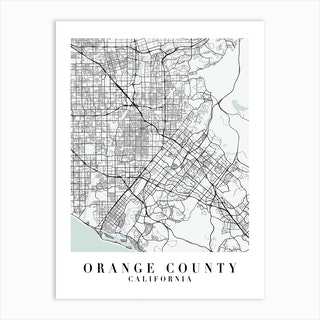 Orange County California Street Map Minimal Color Art Print