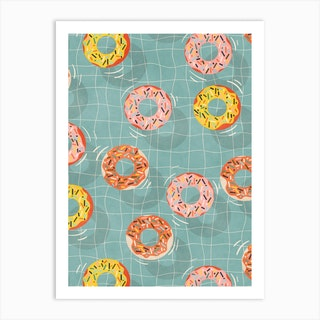 Pool Party Donuts Art Print