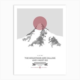 Mountains Illustrated K2 Coral Circle Art Print
