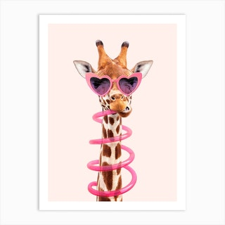 Thirsty Giraffe Art Print