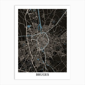 Bruges Black Blue Art Print