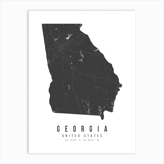 Georgia Mono Black And White Modern Minimal Street Map Art Print
