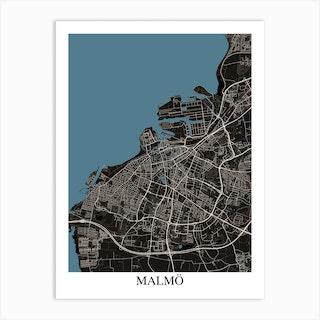 Malmo Black Blue Art Print