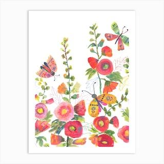 Hollyhocks And Butterflies Art Print
