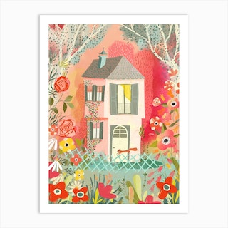 Cozy House With Squirrel Art Print