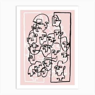Face Book 3 Pink Art Print