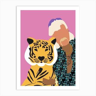 Joe Exotic Pink Tiger 1 Art Print