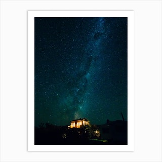 Home Under The Starry Night Art Print