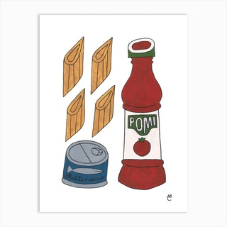 Red Tuna Pasta Art Print
