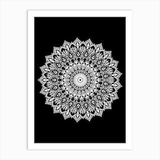 White On Black Mandala Art Print
