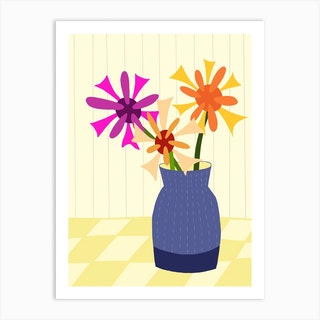 Blue Vase With Flowers Art Print