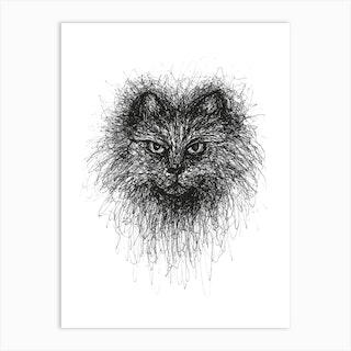 Scribble Cat Art Print