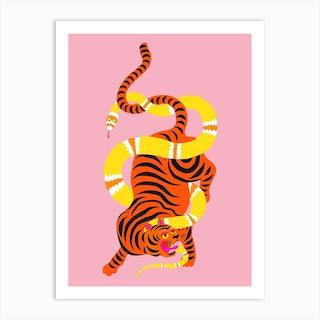 Tiger And Snake Battle Art Print