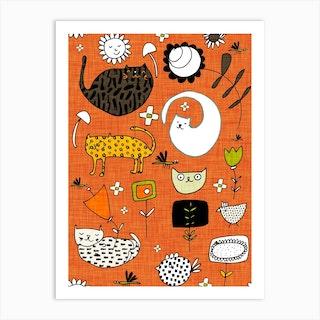 Spring Cat Orange Art Print