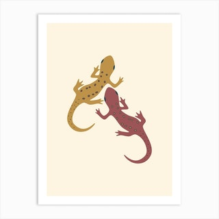 Spotted Newt Mustard Art Print