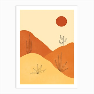Red Sun Desert Art Print