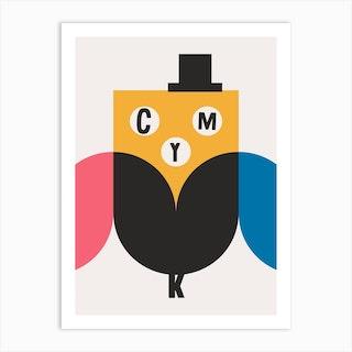 Cmyk Owl Art Print