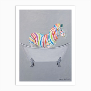 Rainbow Zebra In Bathtub Art Print