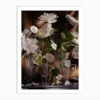 White Roses On Gold Art Print
