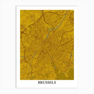 Brussels Yellow Blue Art Print
