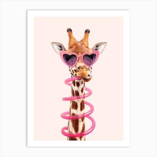 Thirsty Giraffe Art Print