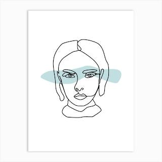 Female Face Line Art Art Print