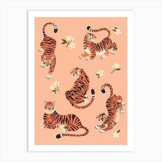 Fierce Tigers In Peach Art Print