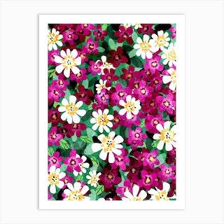 Magenta Field Of Flowers Art Print