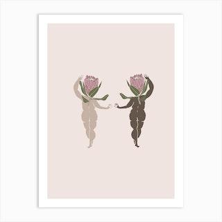 Double Protea Art Print