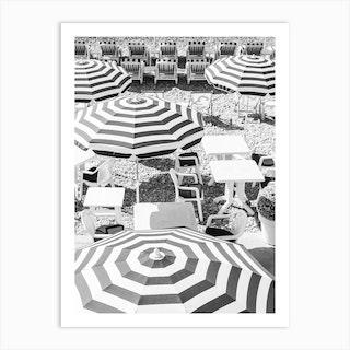 Black White Umbrella Stripes Art Print