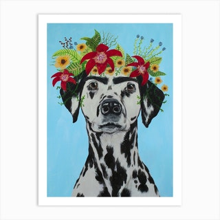 Frida Kahlo Dalmatian Art Print