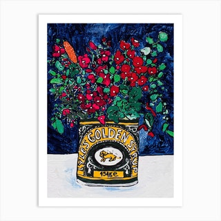 Wildflowers In Lyles Golden Syrup Tin On Navy Art Print