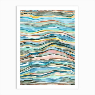 Mineral Layers Watercolor Multicolored Art Print