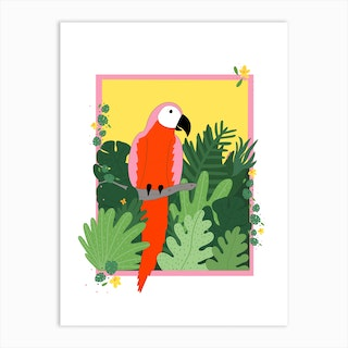 Parrot In The Jungle Art Print