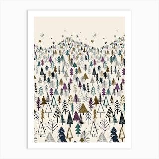 Night Tree Forest Purple Art Print