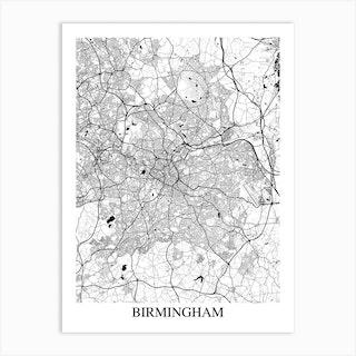 Birmingham White Black Art Print