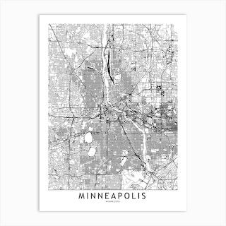 Minneapolis White Map Art Print