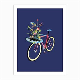 Bike And Flowers Art Print