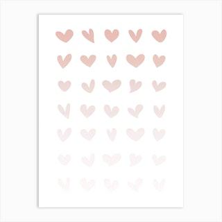 Pink Ombre Hearts Art Print