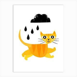 Jumping Cat Art Print