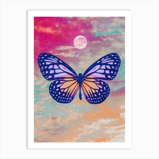 Bright Butterfly Moon Collage Art Print