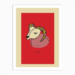 Retro Zodiac Aries Rectangular Art Print