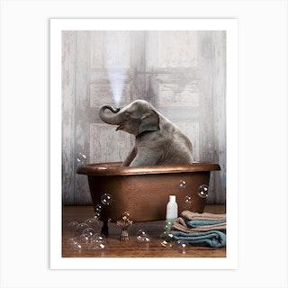 Elephant In A Bathtub Art Print